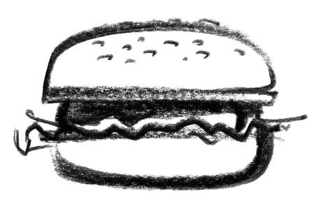 raspy: crayon-sketched illustration of a hamburger Stock Photo