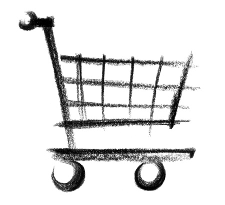 crayon-sketched illustration of a shopping cart illustration