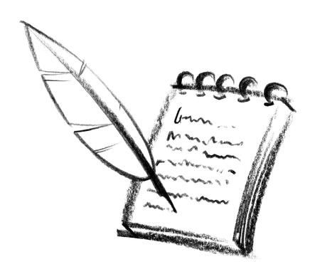 crayon-sketched illustration of a writing pad and nib illustration