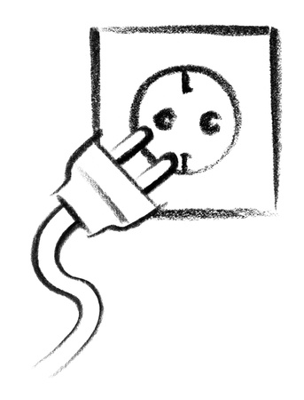 mains: crayon-sketched illustration of a electrical outlet and plug