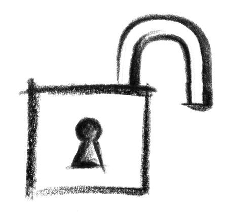 decode: crayon-sketched illustration of a open padlock