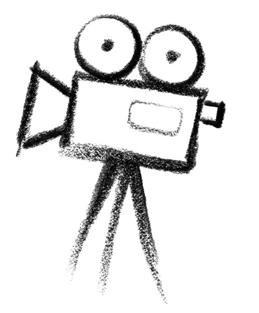 crayon-sketched illustration of a film camera
