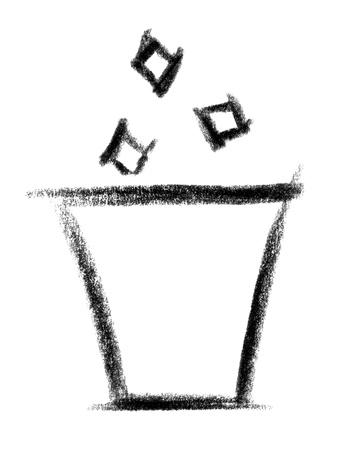 wastebasket: crayon-sketched illustration of a wastebasket