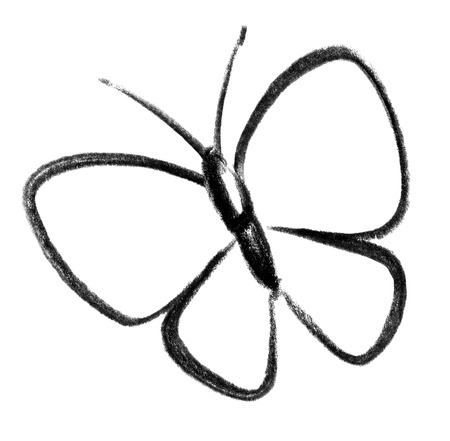 gruff: crayon-sketched illustration of a butterfly Stock Photo