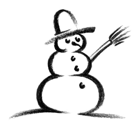 eye catcher: crayon-sketched illustration of a snowman
