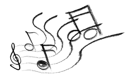gruff: crayon-sketched illustration of some notes and musical symbols