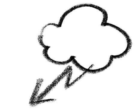 snappy: crayon-sketched illustration of a cloud and lightning flash Stock Photo