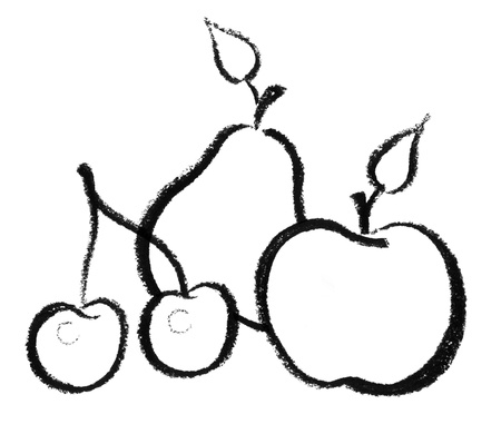 raspy: crayon-sketched illustration of some fruits