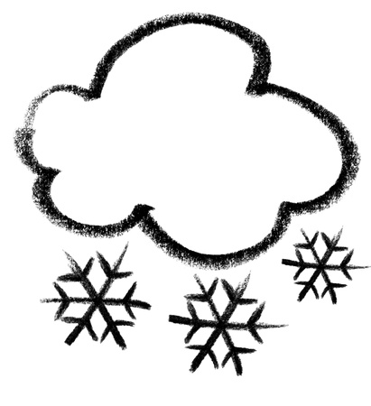 gruff: crayon-sketched illustration of a cloud and snowflakes