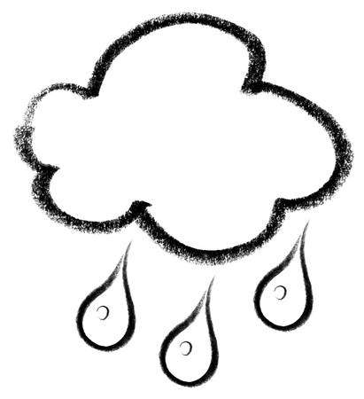 snappy: crayon-sketched illustration of a cloud and rain drops