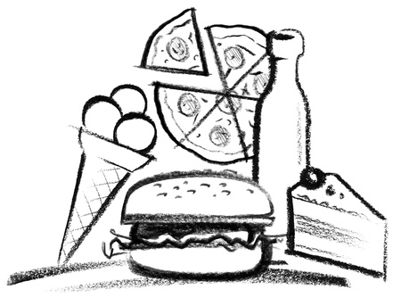 snappy: crayon-sketched illustration of various fastfood
