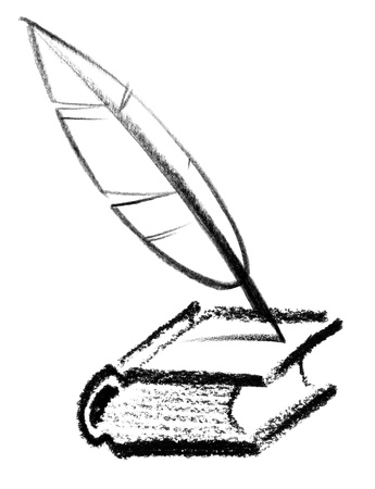 crayon-sketched illustration of a book and quill illustration