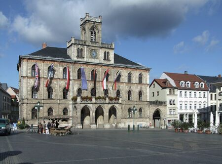 Weimar City hall in Weimar, a city in Thuringia  Germany