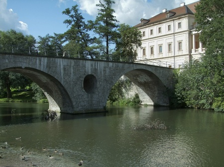 historic building and bridge in Weimar, a city in Thuringia  Germany  photo