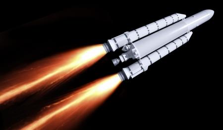 Eine fliegende Rakete mit Feuer Trail in schwarz zurück Standard-Bild - 19580079
