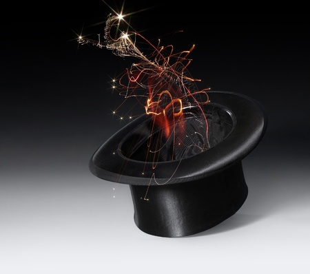 stovepipe hat: magic scenery with a black top hat and magic firework in gradient back
