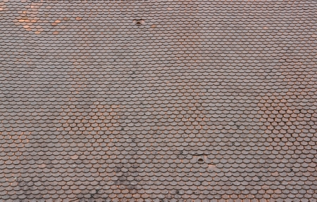 full frame pattern of old roof tiles photo