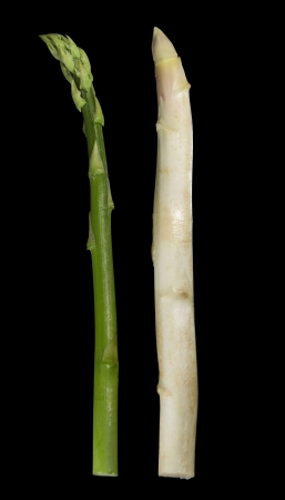 aliment: white and green asparagus vegetable in black back