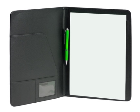 a black open writing case including a white writing pad and ballpen