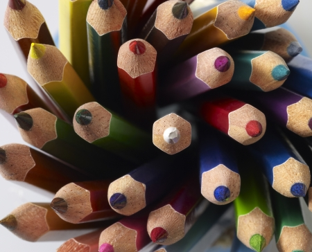 detail shot showing lots of multicolored pencil tips photo