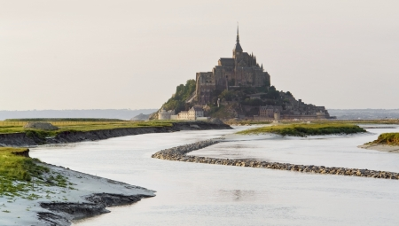 michel: The Mont Saint Michel Abbey in Lower Normandy  France  at evening time