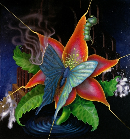 momentariness: surreal painting done by me showing a burn up butterfly on a colorful flower head in dark back