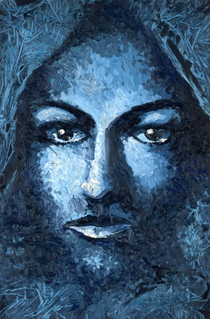 arcane: oil painting done by me showing a feminine face, not related to a existing person