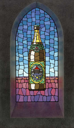 picture painted by me showing a beer bottle illustration on a church window illustration
