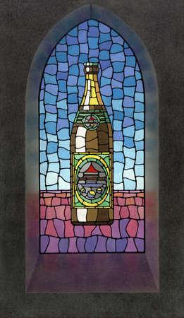window church: quadro dipinto da me che mostra una bottiglia di birra illustrazione su una finestra della chiesa