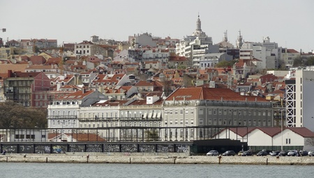 urbanized: Panoramic view of Lisbon, the capital city of Portugal