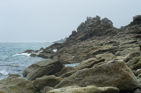 moistness: detail of a rocky coast in Brittany, France Stock Photo