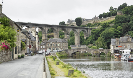 dinan: Idyllic scenery at the port of Dinan, a town in Brittany, France. It is located at the river Rance