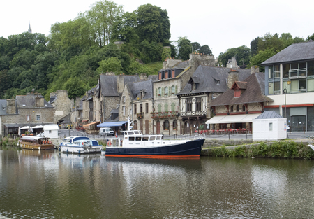 rance: Idyllic scenery at the port of Dinan, a town in Brittany, France. It is located at the river Rance