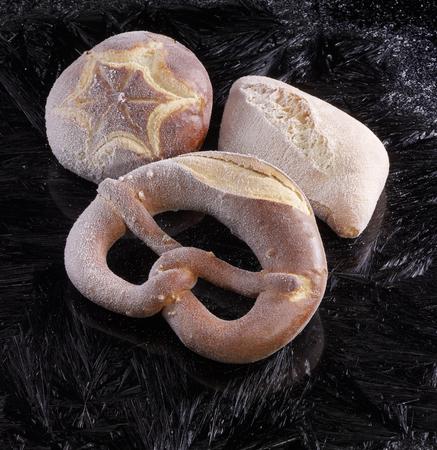 lye: frozen german lye rolls in black covered with frost pattern