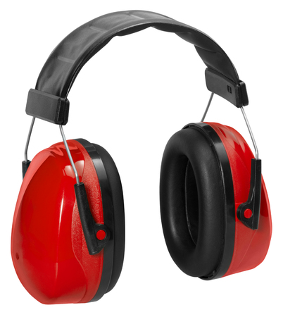 protectors: a pair of red ear protectors in white back