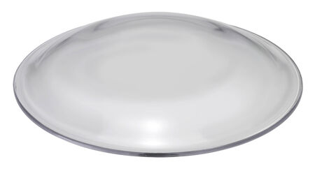 convex: clear glass dome in white back