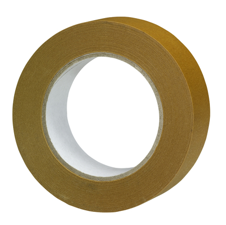 foil roll: roll of brown adhesive tape in white back Stock Photo