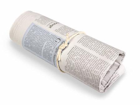 gazette: rolled german newspaper in light back