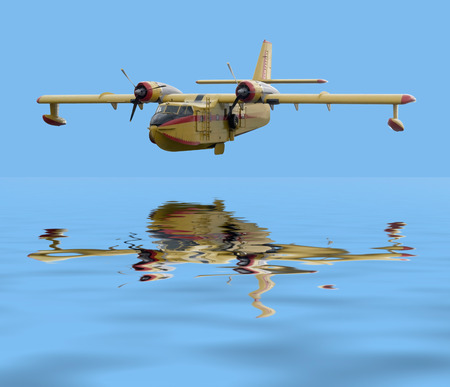 mirroring: historic flying boat over mirroring water surface in blue ambiance Stock Photo