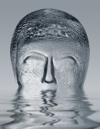 sinking glass head on reflective water surface