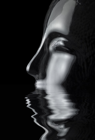 sinking translucent reflective human head made of glass on reflective water surface in black back