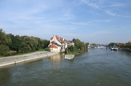 riverside view of Regensburg, a city in Bavaria  Germany  photo