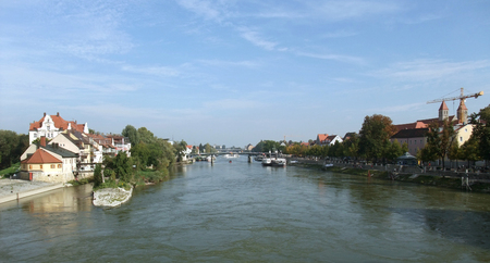 regensburg: riverside view of Regensburg, a city in Bavaria  Germany