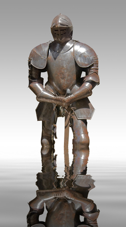 moistness: sunny illuminated historic rusty plate armour on mirroring water surface in white back