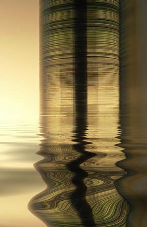 moistness: torre in parte sommersa di compact disc illuminato con luce calda sulla superficie dell'acqua riflettente