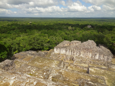 calakmul: temple ruin at Calakmul, a mayan archaeological site in the mexican state of Campeche Stock Photo