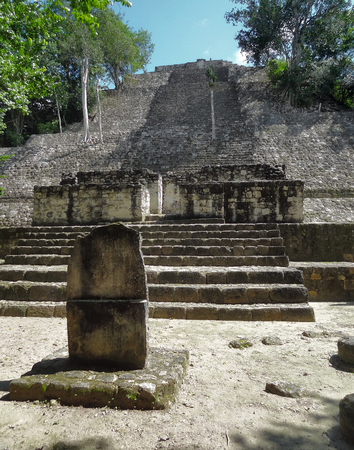 calakmul: detail of a temple at Calakmul, a mayan archaeological site in the mexican state of Campeche
