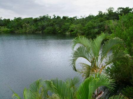 azul: a lake named Cenote Azul in Mexico