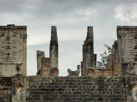 Temple of the Warriors with Chac Mool sculpture in Chichen the Itza archaeological site in Yucatan, Mexico