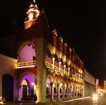 yucatan: Illuminated night scenery of Merida in Yucatan, Mexico Editorial